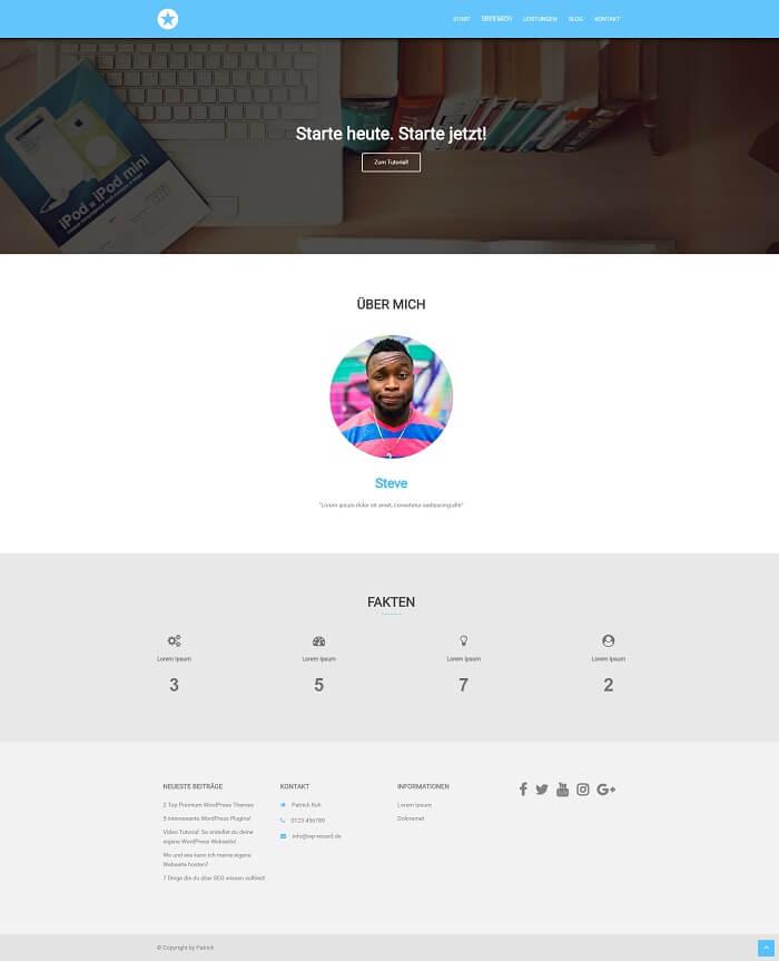 WordPress Beispielseite auf Desktop Bildschirm - Über mich - Sydney Theme