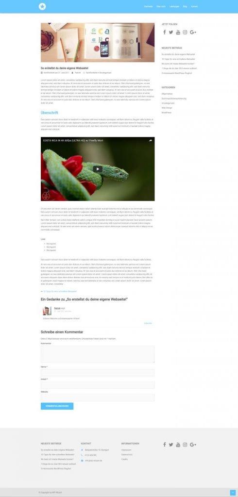 WordPress Beispielseite auf Desktop Bildschirm - Blog - Sydney Theme