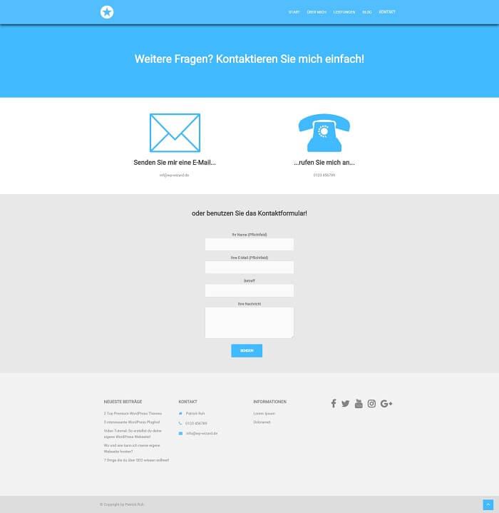 WordPress Beispielseite auf Desktop Bildschirm - Kontakt - Sydney Theme