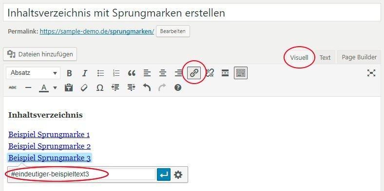 WordPress Visual Editor - Link für Sprungmarke erstellen