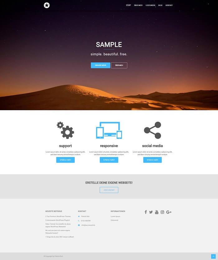 WordPress Beispielseite auf Desktop Bildschirm - Startseite - Sydney Theme