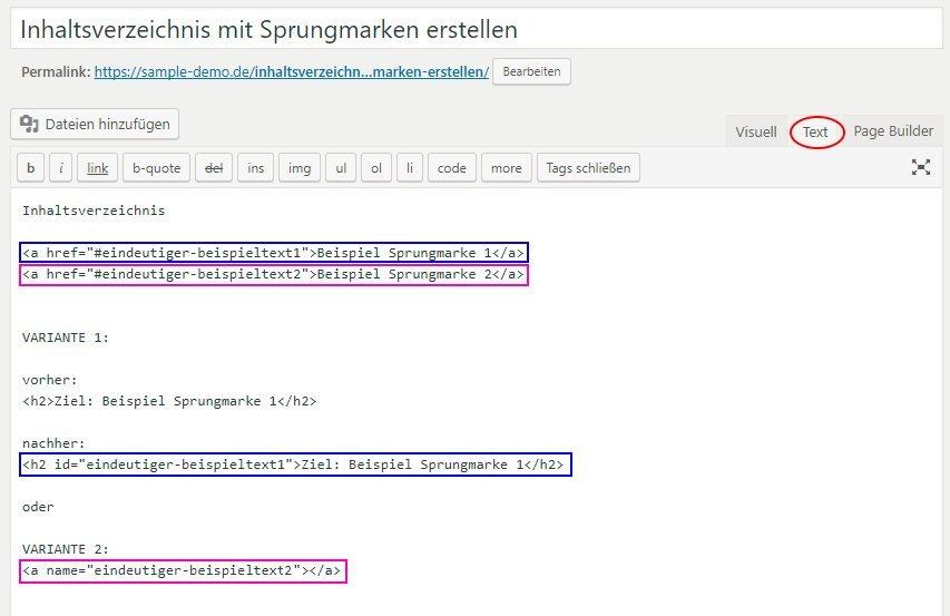 WordPress HTML Texteditor - markierte Sprungmarken