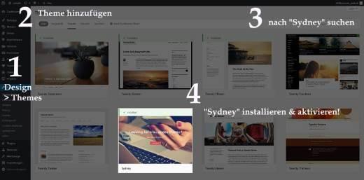 """Anleitung Installation des """"Sydney"""" Themes in der WordPress Theme Bibliothek"""