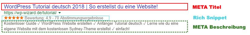 Beispiel Search Snippet - Meta Titel - Rich Snippet - Meta Beschreibung