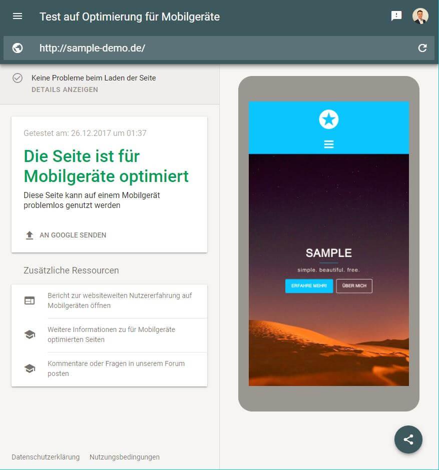 Erfolgreicher Test auf Optimierung für Mobilgeräte