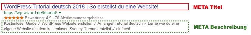 Beispiel Search Snippet - Meta Titel und Meta Beschreibung (markiert)