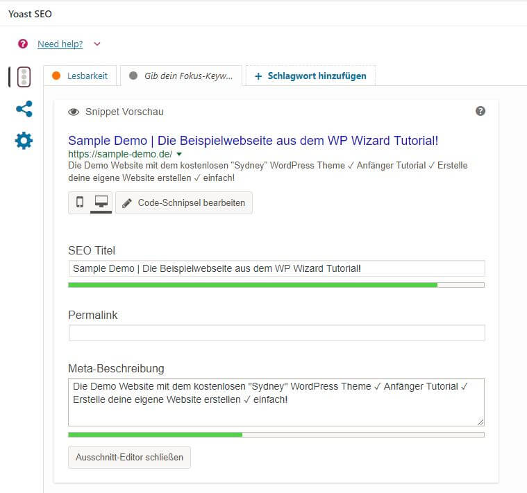 Screenshot: Yoast WordPress SEO PlugIn - Meta Daten Eingabefeld