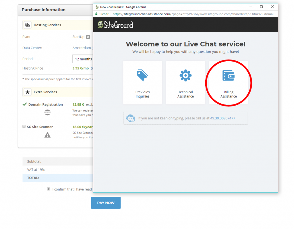 Siteground Live Chat service - Billing Assitance