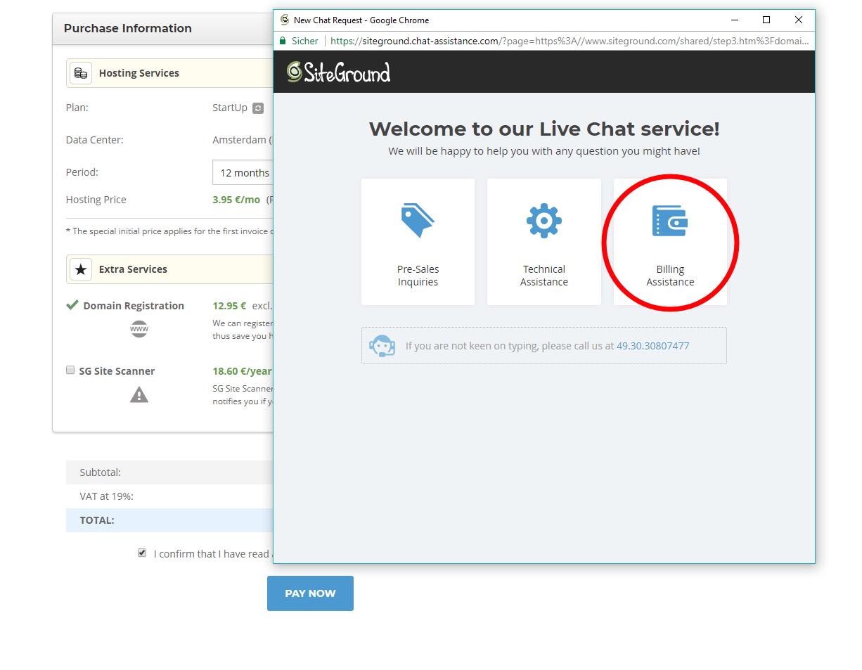 Siteground Live Chat service - Billing Assitance