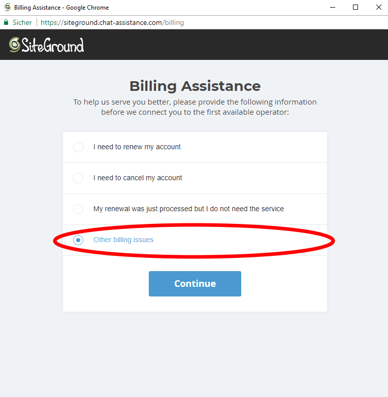 Siteground Live Chat - Billing Assistance - Other billing issues