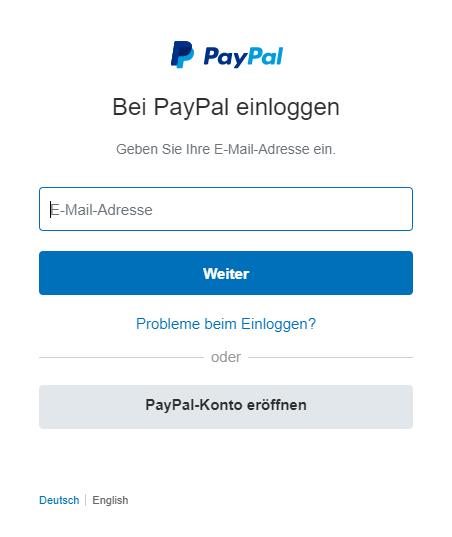 Kontoanmeldung - Bei PayPal einloggen