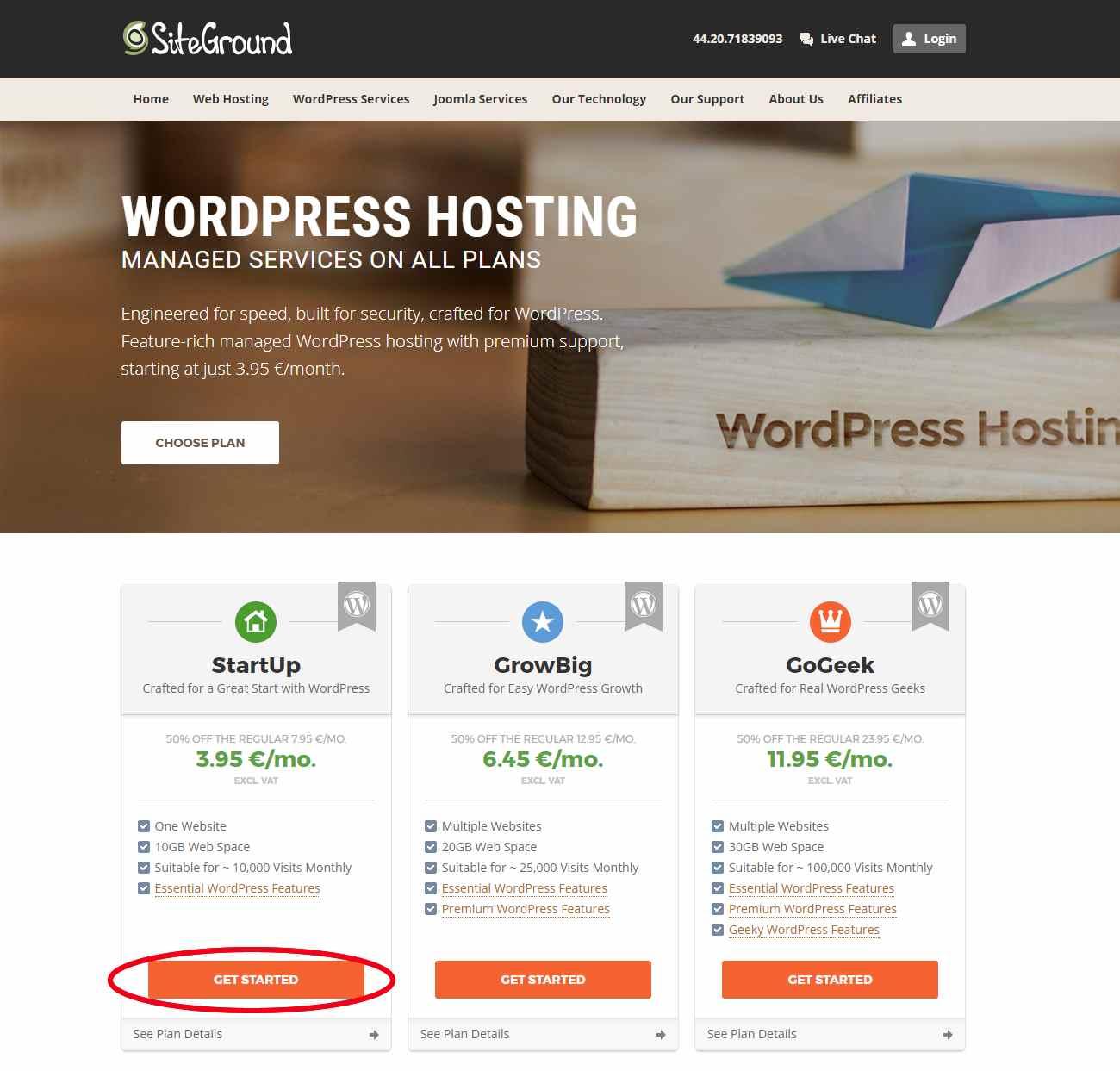 Siteground Übersicht der WordPress Hosting Pläne - StartUp, Grow Big und GoGeek