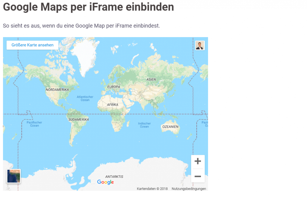 Demo - Google Maps iFrame auf Wordpress Website