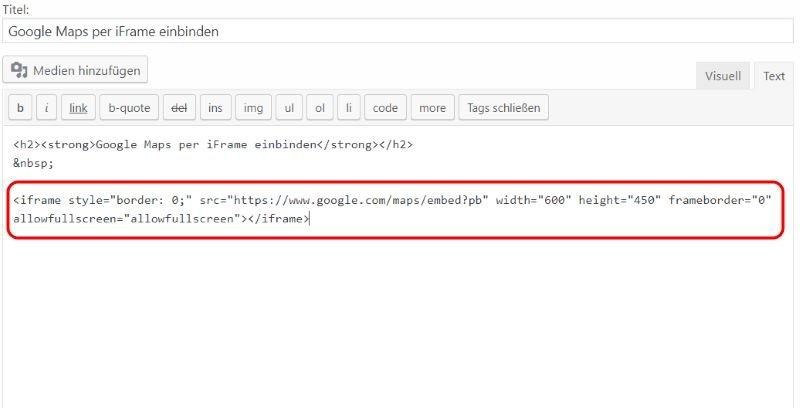 WordPress: Google Maps einbinden - [PlugIn + API] oder [ohne