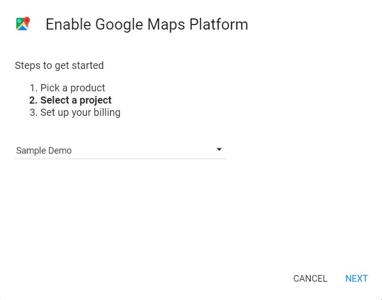 Google Maps Plattform - Projekt auswählen