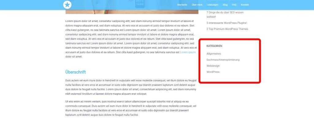 """Seitenleiste mit """"Kategorien"""" - Widget"""