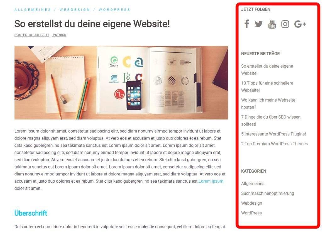 Seitenleiste mit Social Media Widget, Neueste Beiträge und Kategorien