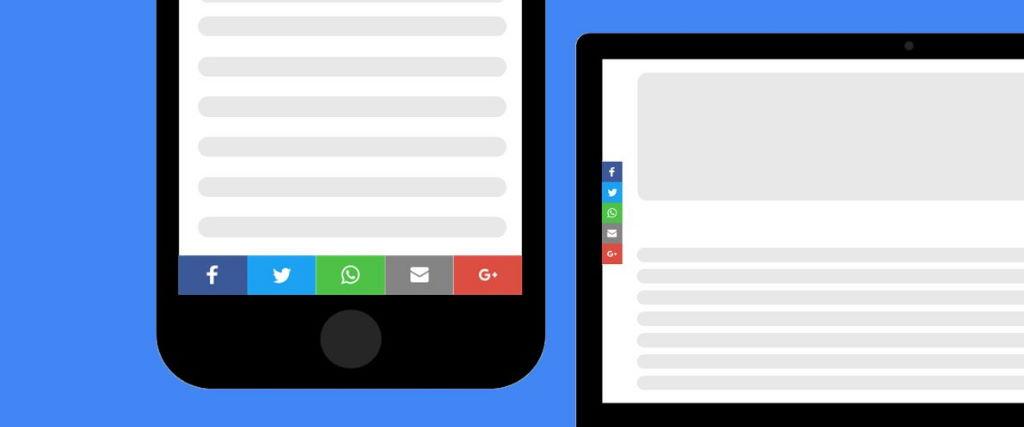 Social Media und Share Icons Desktop und Smartphone Mockup