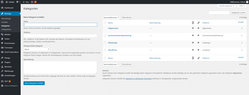 WordPress Dashboard - Kategorie erstellen