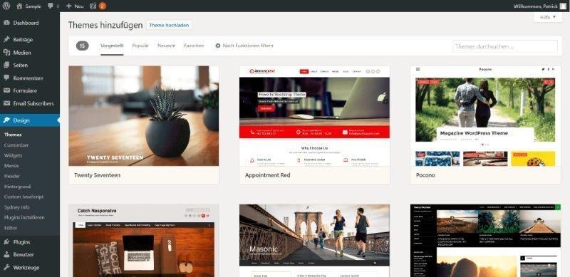 WordPress Theme Bibliothek - Kostenlose Themes suchen und installieren