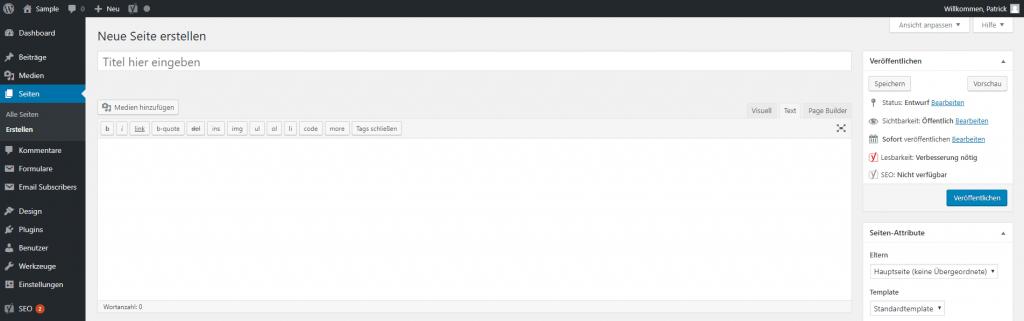 WordPress Dashboard - Seite erstellen