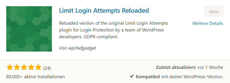 WordPress Sicherheits PlugIn - Limit Login Attempts Reloaded