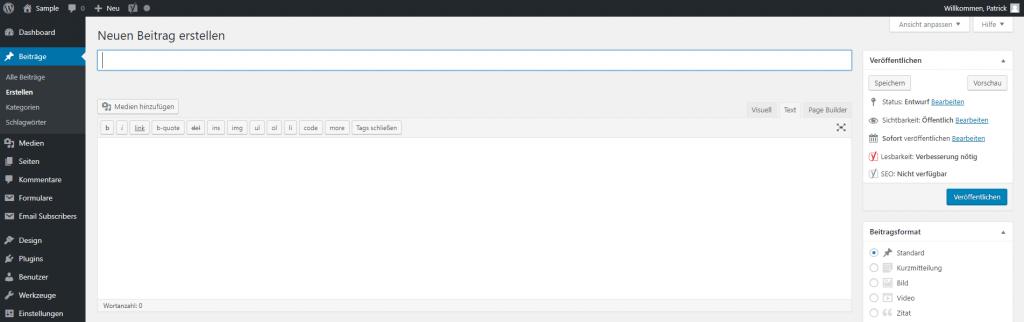 WordPress Dashboard - Beitrag erstellen