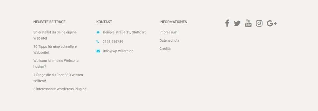 Footer mit SiteOrigin Widgets