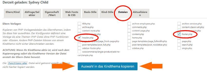 Child Them Configurator - Einstellungen - Dateien Reiter