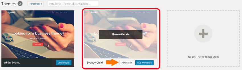 WordPress Theme Auswahl - Child Theme