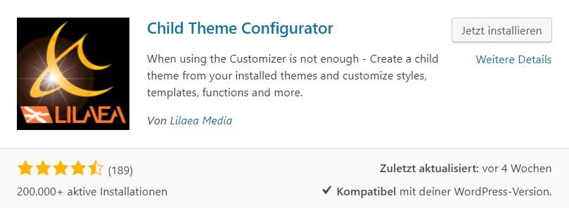 "Das kostenlose WordPress PlugIn ""Child Theme Configurator"""
