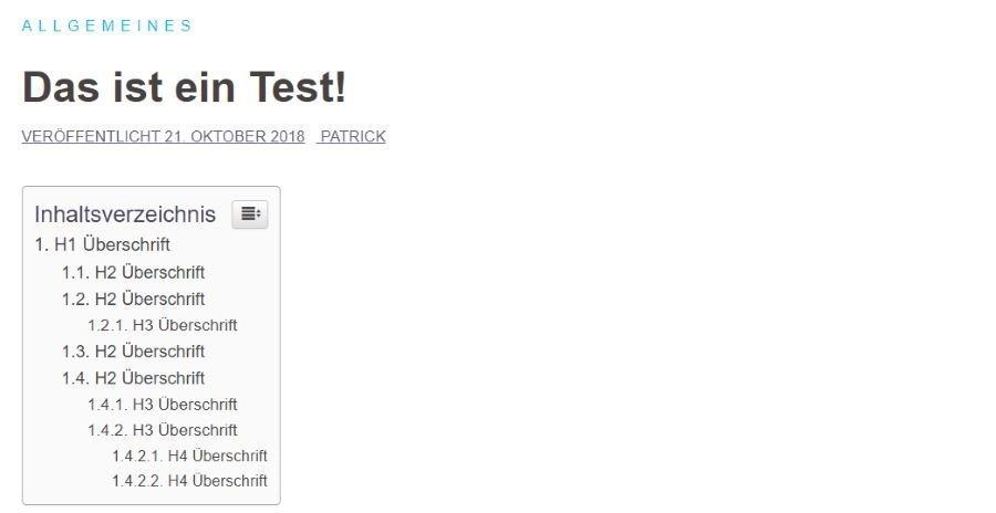 """Beispiel Inhaltsverzeichnis mit dem Wordpress PlugIn """"Table of Contents"""""""