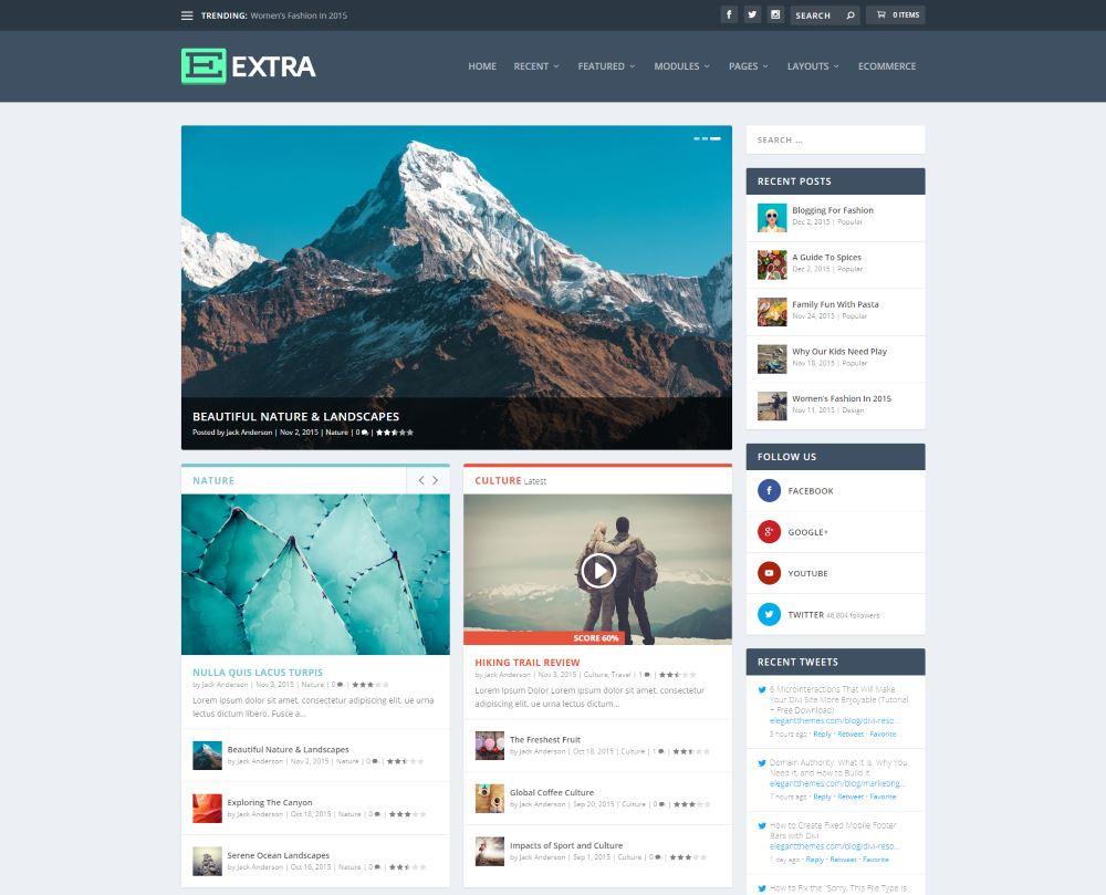 """Extra"" Premium Theme für Blogs (elegantthemes)"