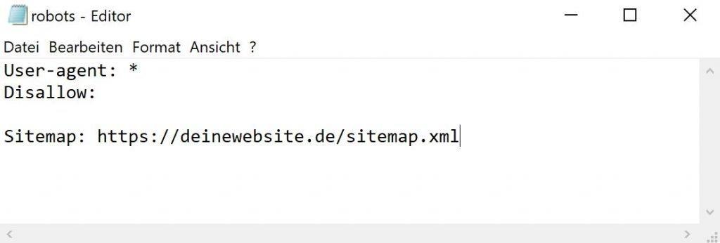 Beispiel robot.txt im Texteditor
