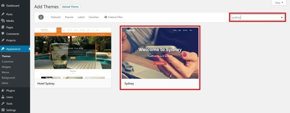 WordPress Sydney Theme