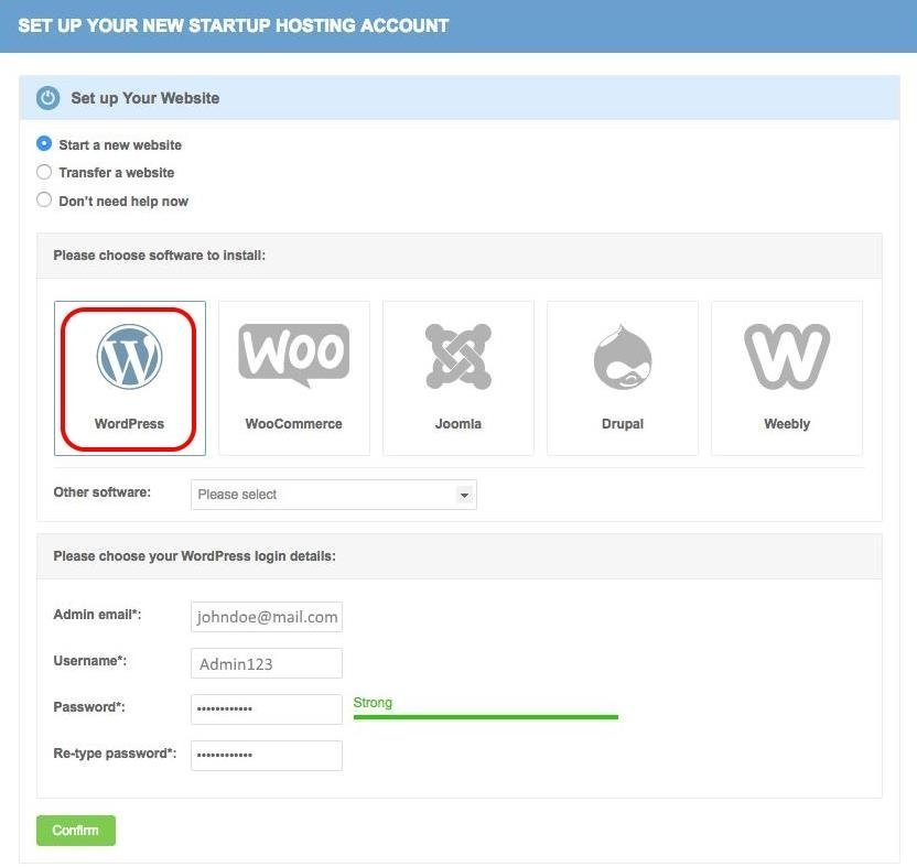 WordPress bei Siteground installieren (Neuregistrierung)