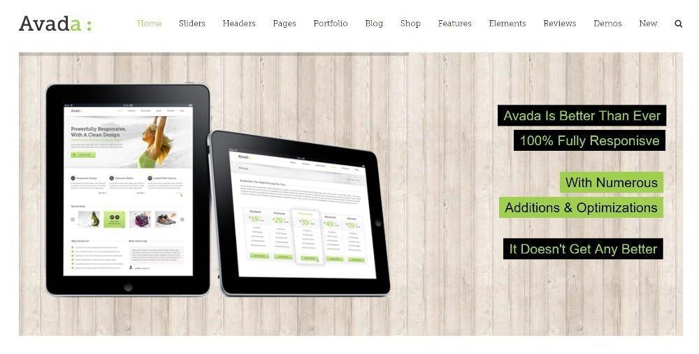 Avada Theme Demo Screenshot