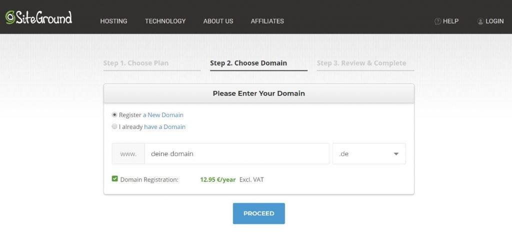 SiteGround Domain Registrierung Eingabefeld