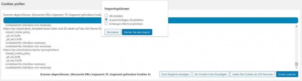 Ergebnisse des Cookie Scanners zusammenfügen