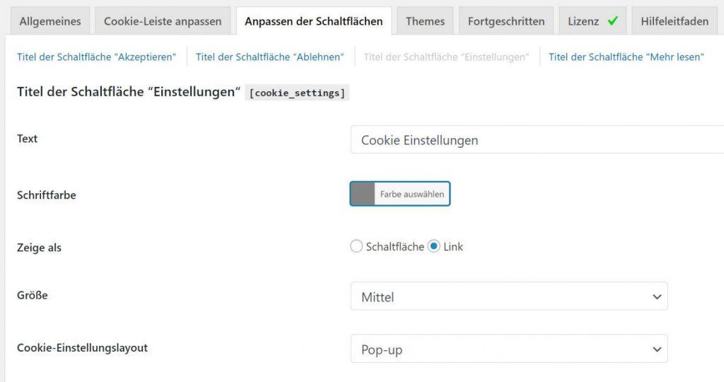 """""""Einstellungen"""" Schaltfäche im WordPress Cookie Hinweis Plugin anpassen"""